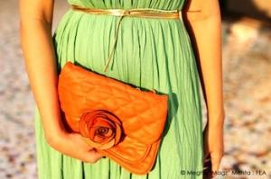 Green dress @ Preciosa - 2000 | Orange clutch @ Preciosa - 2000