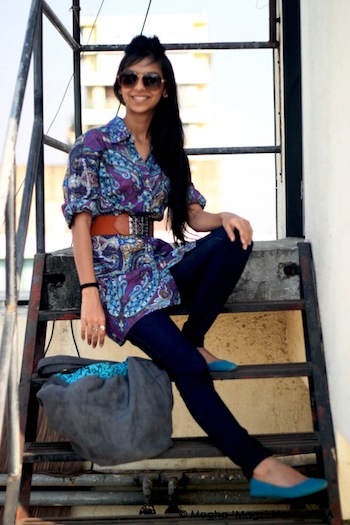 Paisley print shirt - Colaba Causeway, High-waist belt - Hill Road street stall, Shades - Gucci, Pumps - Colaba Causeway, Jeans - Outfits, Bag - Inkberri.