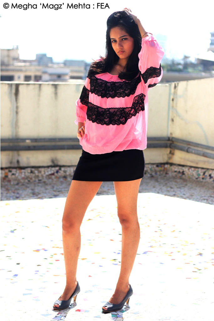 A casual pink dress with lace work on it from Preciosa