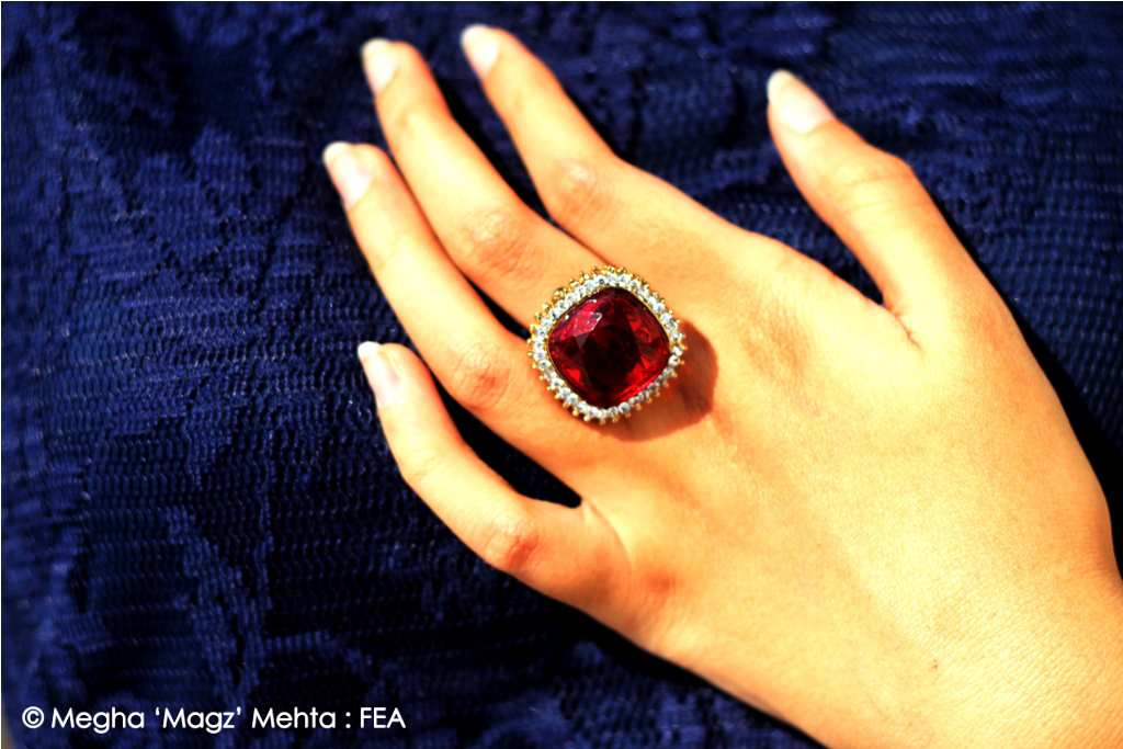 Square shaped red stone ring surrounded with white diamantes - my own