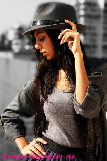 Grey tank top, hat, long shirt - All from my own collection | High-waist frill skirt - Preciosa