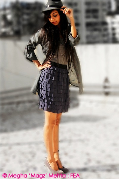 Grey tank top, hat, long shirt, heels - All from my own collection | High-waist frill skirt - Preciosa