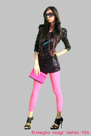 Black heavy shoulder padded long sequined top from God Made Me Funky is the drama effect of this look, enhanced by the pink stockings, high heels, black sunnies and hot pink clutch - all from my own wardrobe