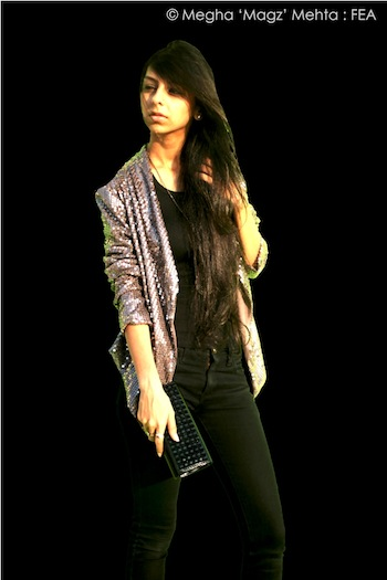 Plain black ganji & jet black jeans - my own wardrobe, grey sequined jacket & clutch - God Made Me Funky